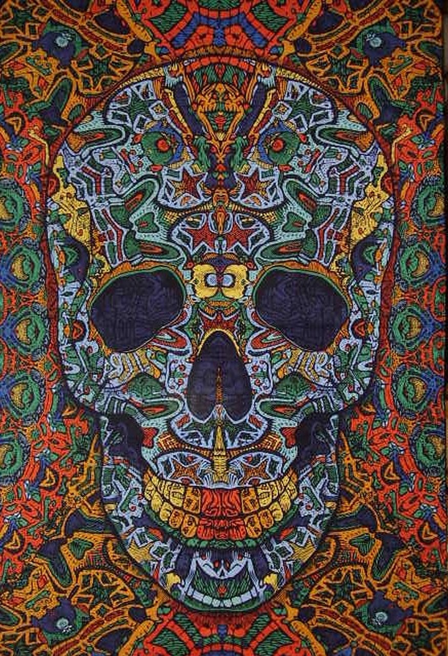 "Psychedelic 3-D Skull Cotton Wall Hanging 90"" x 60"" Single Multi Color with FREE 3-D Glasses"