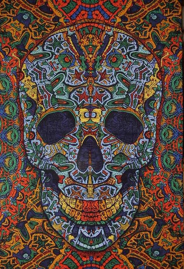 "Psychedelic 3-D Skull Cotton Wall Hanging 90"" x 60"" Single Multi Color"
