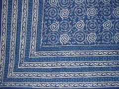 "Dabu Indian Tapestry Cotton Bedspread 108"" x 88"" Full-Queen Blue"