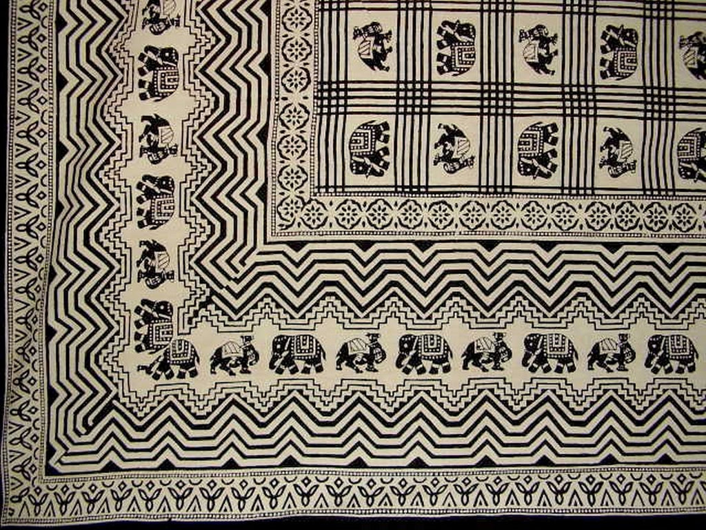 "African Print Tapestry Cotton Bedspread 108"" x 108"" Queen-King Black"