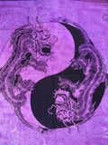 "Yin Yang Dragon Tapestry Cotton Wall Hanging 90"" x 60"" Single Purple"