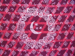 "Celestial Batik Tapestry Cotton Bedspread 108"" x 108"" Queen-King Red"