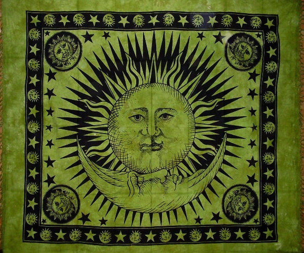 "Celestial Tapestry Cotton Bedspread 92"" x 82"" Full Green"