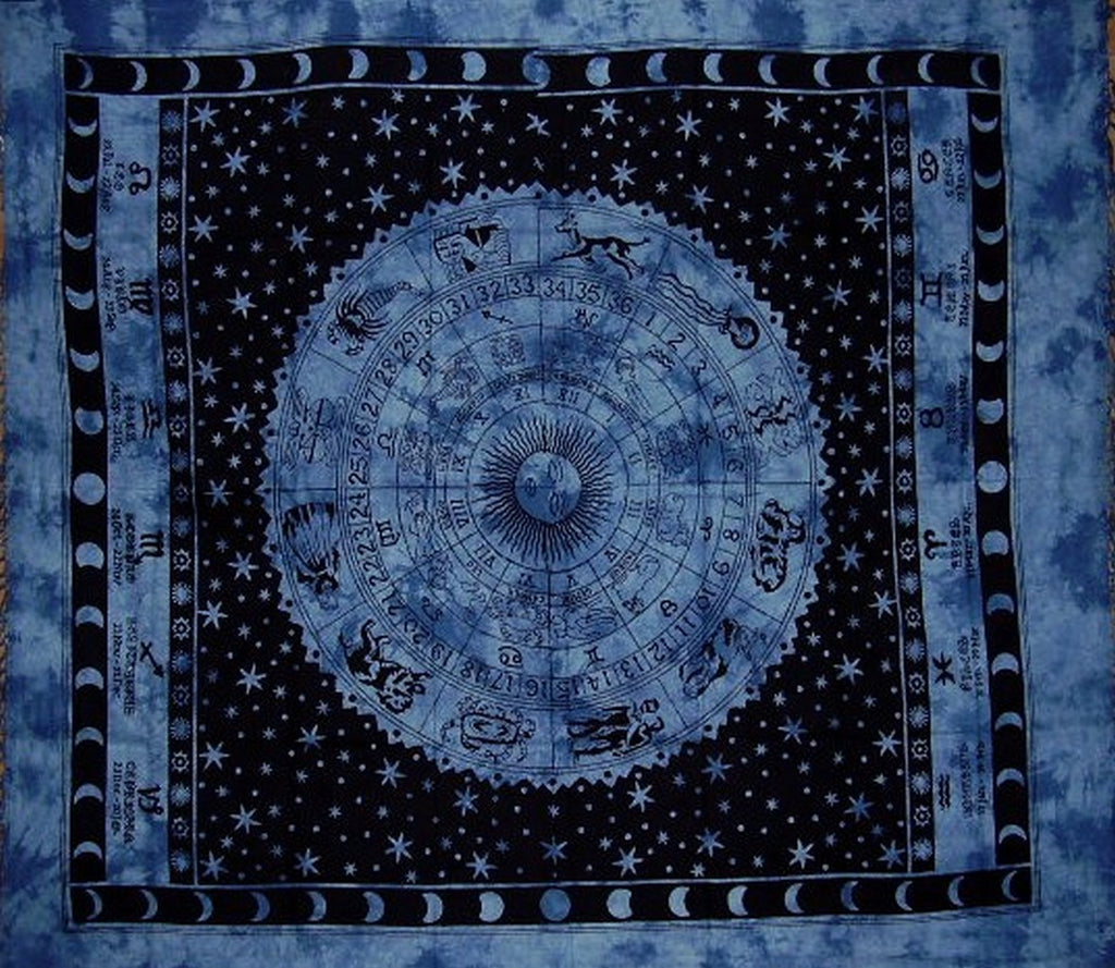 "Astrological Tapestry Cotton Bedspread 92"" x 82"" Full Blue"