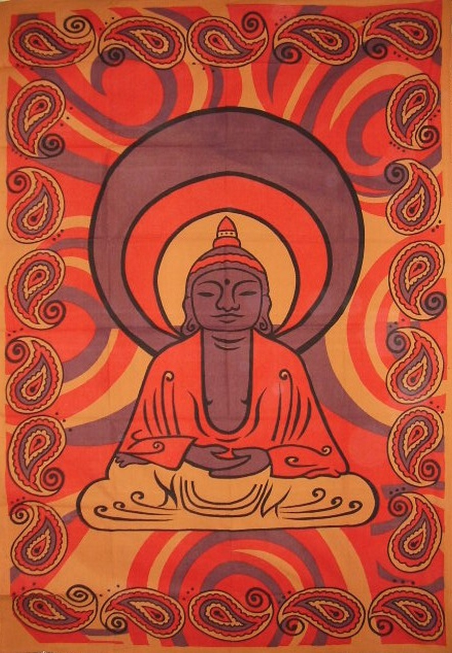 "Buddha Print Tapestry Cotton Wall Hanging 86"" x 60""  Brown"