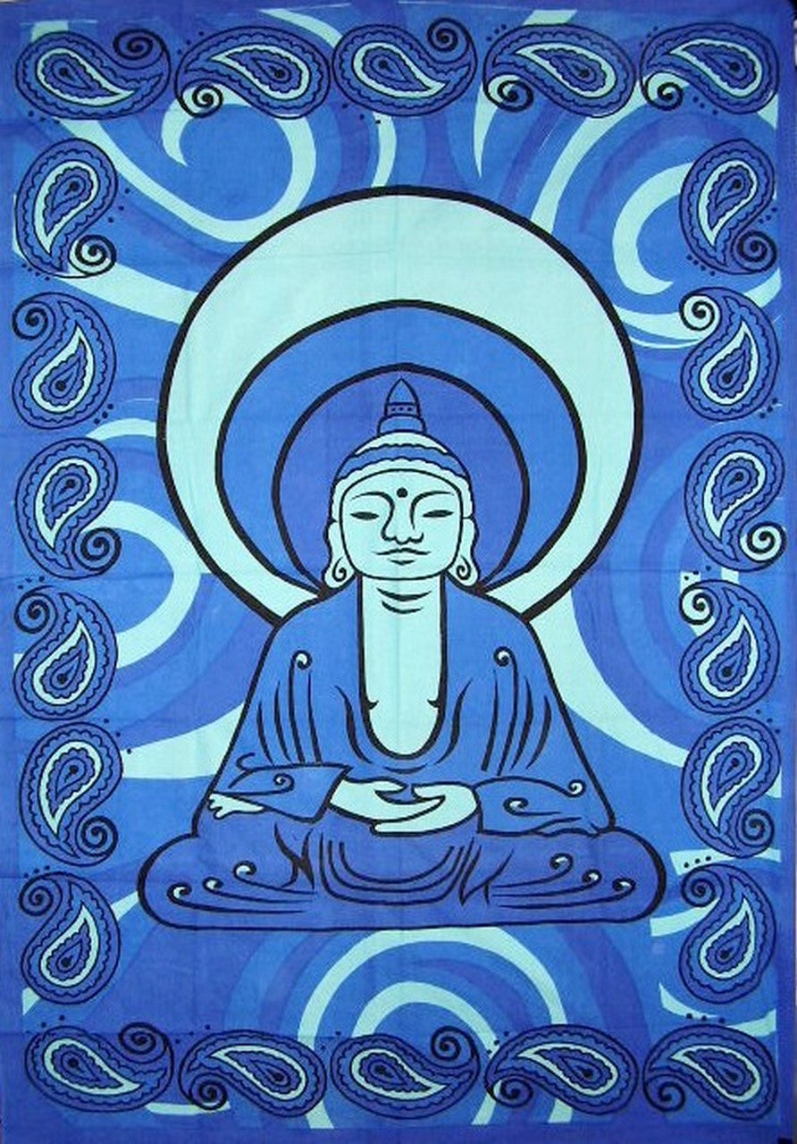 "Buddha Print Tapestry Cotton Wall Hanging 86"" x 60""  Blue"