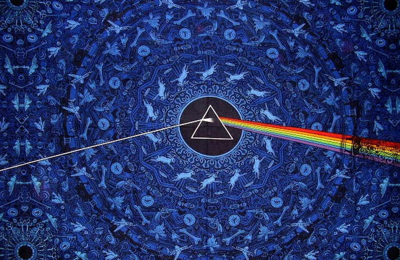 "Pink Floyd Dark Side of the Moon 3-D Wall Hanging 90"" x 60"" Single Blue"