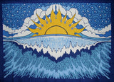 "Poster Size Sun Wave Print Cotton Wall Hanging 48"" x 35"" Blue"
