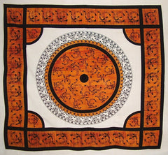 "Om Symbol Heavy Cotton Bedspread 88"" x 82"" Full Amber"