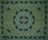 "Mandala Elephant Tapestry Cotton Bedspread 108"" x 88"" Full-Queen Green"