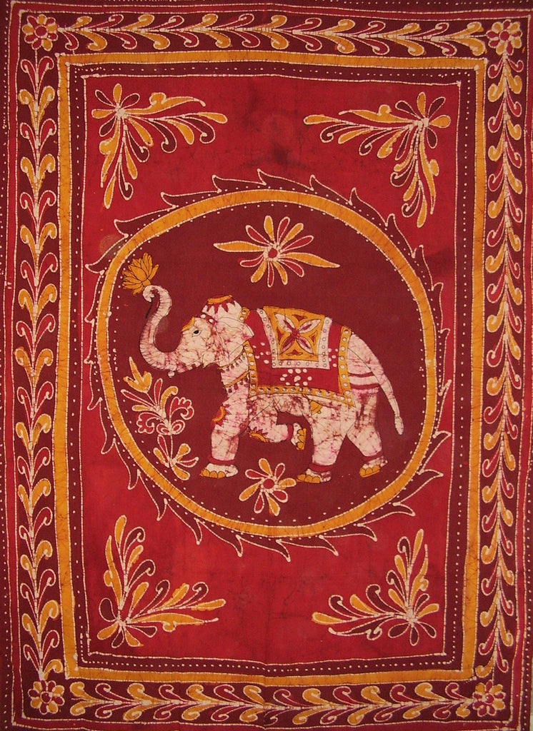 "Lucky Batik Elephant Tapestry Cotton Spread  102"" x 70"" Twin Red"