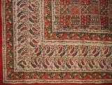 "Kalamkari Block Print Tapestry Cotton Bedspread 108"" x 88"" Full-Queen Red/Black"