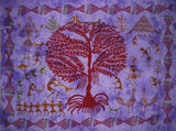 "Tribal Celebration Tree of Life Wall Hanging Cotton 55"" x 43""  Purple"