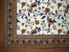 "Floral Print Tapestry Cotton Spread 104"" x 72"" Twin Brown"