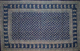 "Block Print Tapestry Cotton Spread  110"" x 72"" Twin Blue"