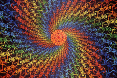 "Psychedelic 3-D Spiral Skeletons Cotton Wall Hanging 90"" x 60"" Multi Color"