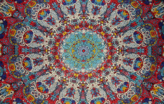 "Psychedelic 3-D Sunburst Cotton Wall Hanging 90"" x 60"" Single Multi Color"