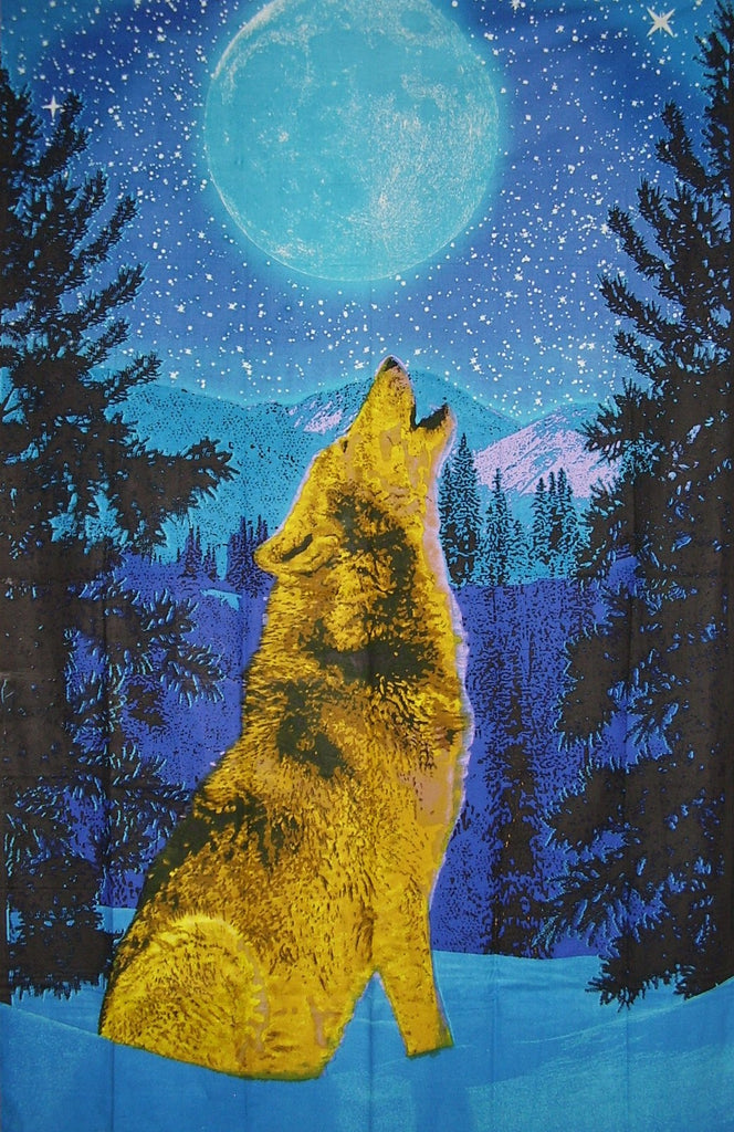 "Howling Wolf Print Cotton Wall Hanging 90"" x 60"" Single Blue"