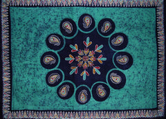 "Batik Tapestry Cotton Spread 106"" x 70"" Twin Green"
