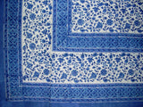 "Rajasthan Block Print Tapestry Cotton Bedspread 106"" x 106"" Queen Blue"