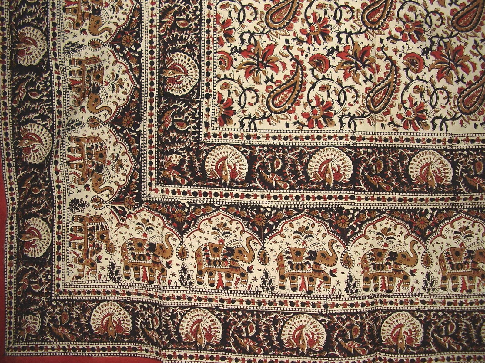 "Block Print Indian Tapestry Cotton Spread 108"" x 88"" Full/Queen"