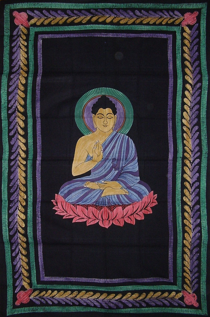 "Buddha Tapestry Cotton Wall Hanging 102"" x 70"" Twin Multi Color"