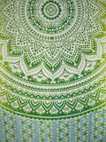 "Mandala Indian Tapestry Cotton Bedspread 96"" x 84"" Full Green"