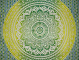 "Mandala Tapestry Cotton Spread 96"" x 62"" Single Green"