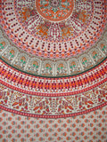 "Mandala Indian Tapestry Cotton Bedspread 96"" x 86"" Full Red"