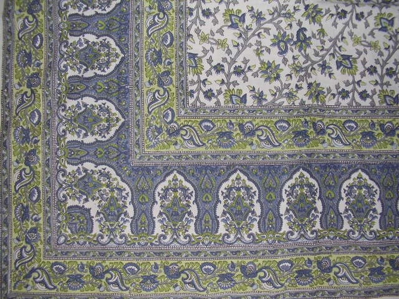 "Turkish Floral Tapestry Cotton Spread 106"" x 70"" Twin Blue"