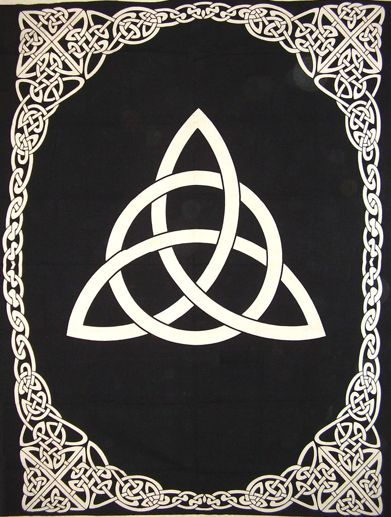 "Celtic Trinity Knot Tapestry Heavy Cotton Spread 98"" x 70"" Twin Black"