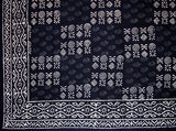"Veggie Dye Block Print Tapestry Cotton Bedspread 110"" x 110"" King Black"
