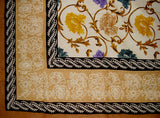 "Mediterranean Floral Tapestry Cotton Bedspread 104"" x 70"" Twin Tan"