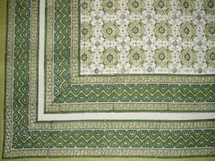 "SALE Tile Block Print Tapestry Cotton Spread 106"" x 88"" Full Green"