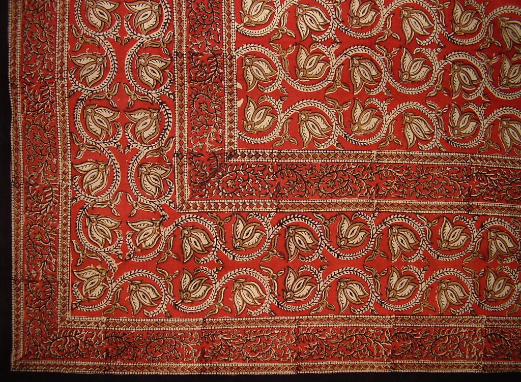 "Dabu Block Print Indian Tapestry Cotton Spread 108"" x 88"" Full-Queen Red"