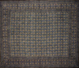 "Dabu Block Print Indian Tapestry Cotton Spread 108"" x 88"" Full-Queen Blue"