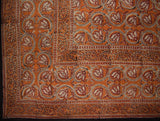 "Dabu Block Print Indian Tapestry Cotton Spread 108"" x 88"" Full-Queen Brown"