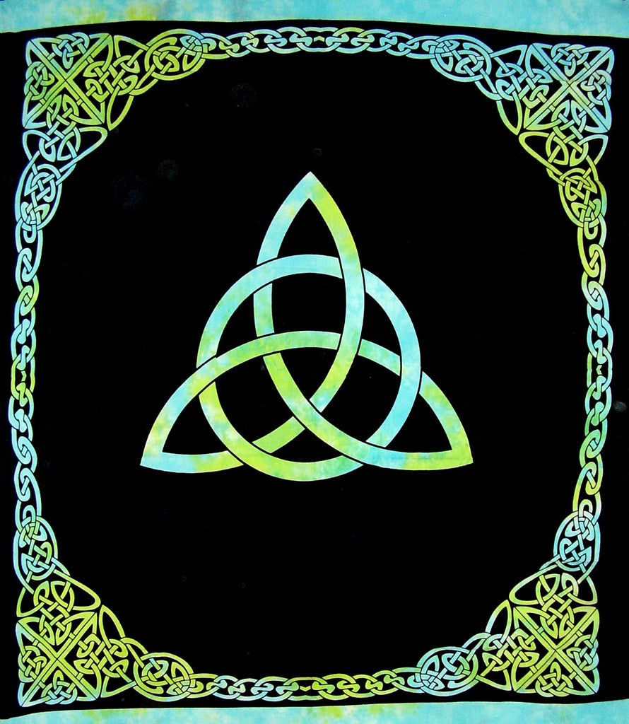 "Celtic Trinity Knot Tapestry Heavy Cotton Spread 96"" x 86"" Tie Dye Turquoise"