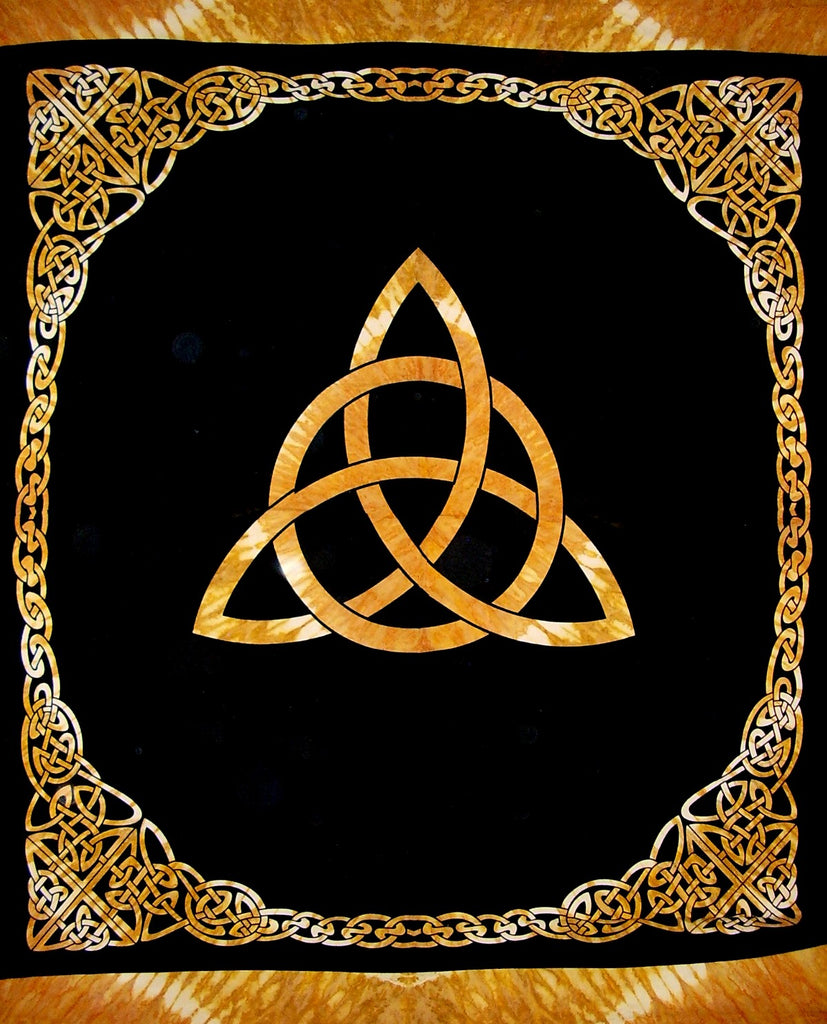 "Celtic Trinity Knot Tapestry Heavy Cotton Spread 96"" x 86"" Tie Dye Amber"