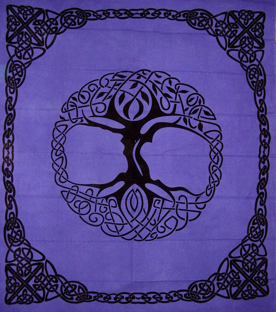 "Celtic Tree of Life Tie Dye Tapestry Heavy Cotton Spread 96"" x 86"" Purple"