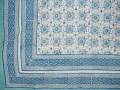 "Tile Block Print Tapestry Cotton Spread 106"" x 88"" Full Blue"