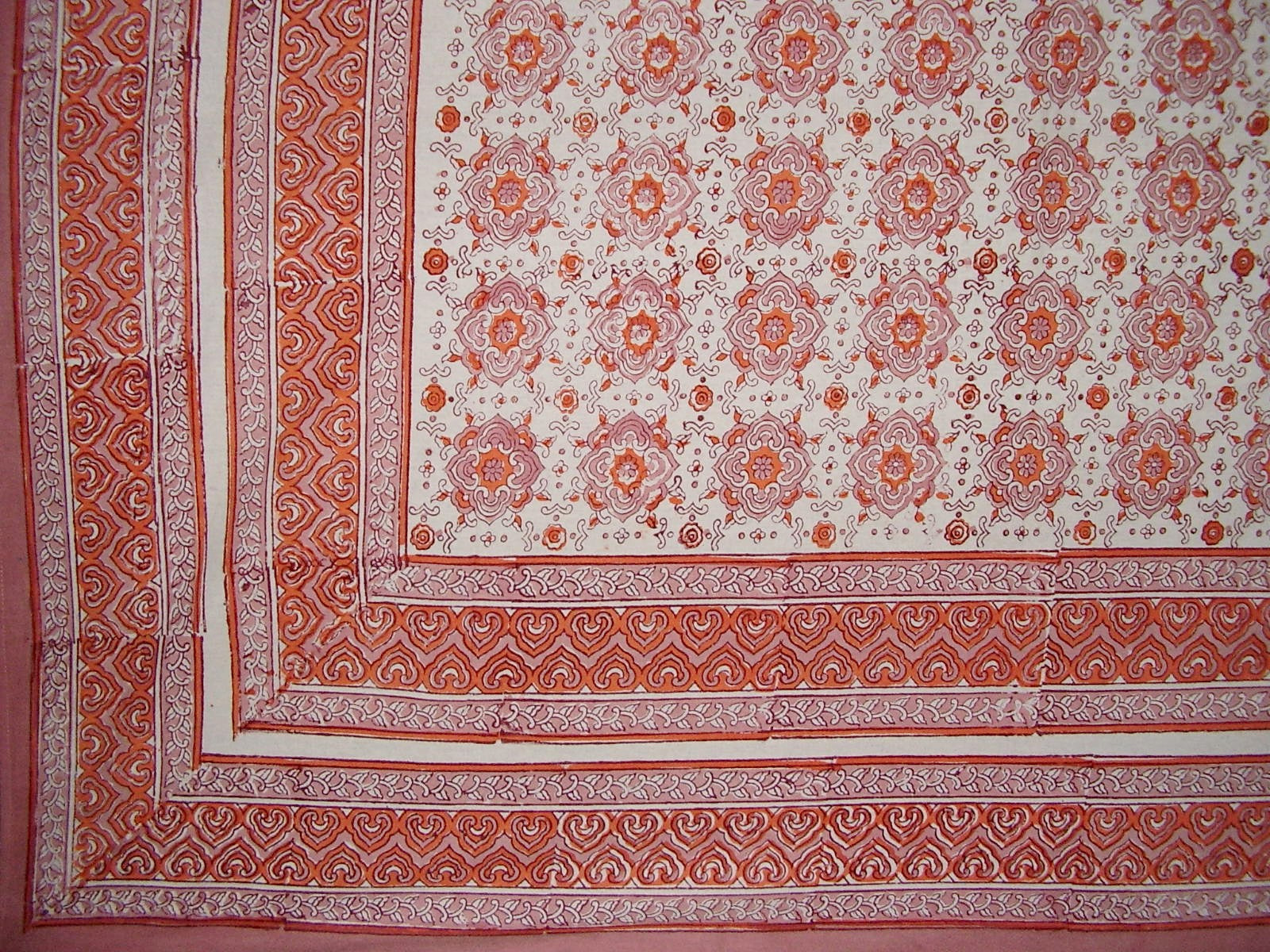 "Tile Block Print Tapestry Cotton Spread 106"" x 88"" Full Coral"