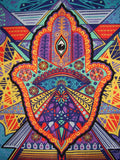 "3-D Geometric Hamsa Tapestry Cotton Wall Hanging 90"" x 60"""