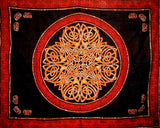 "Celtic Circle Tapestry Cotton Bedspread 104"" x 88"" Full Red"
