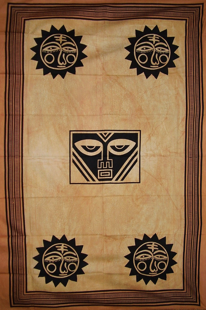 "SALE Heavy Tribal Tapestry Cotton Bedspread 102"" x 70"" Twin Tan"