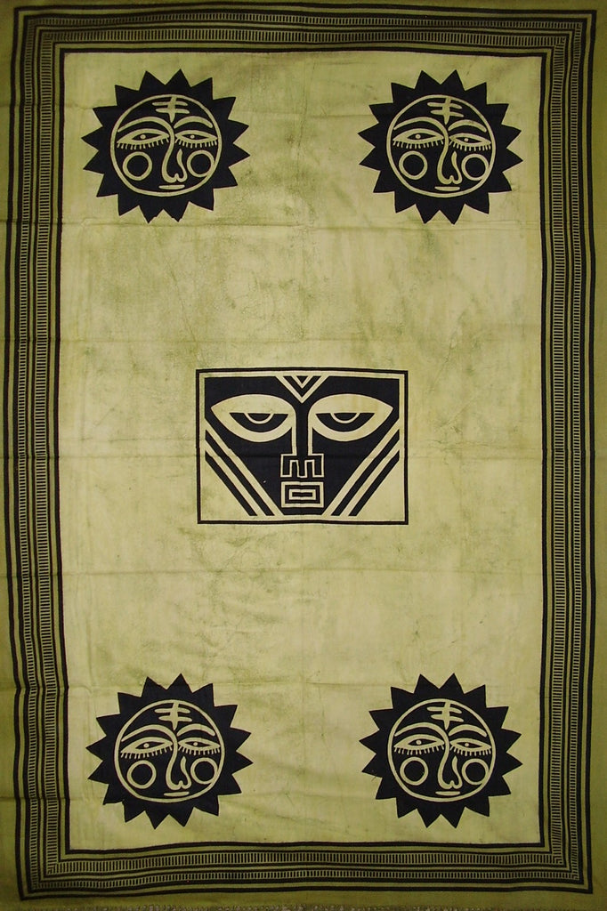 "SALE Heavy Tribal Tapestry Cotton Bedspread 102"" x 70"" Twin Green"