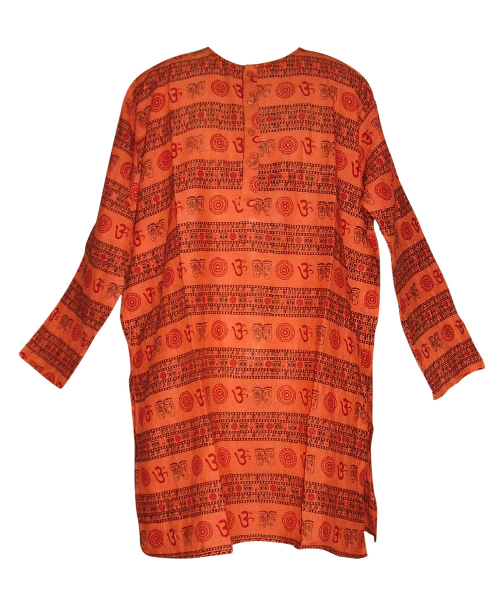 Kurta Shirt Om Symbol 100% Cotton L Orange Coral