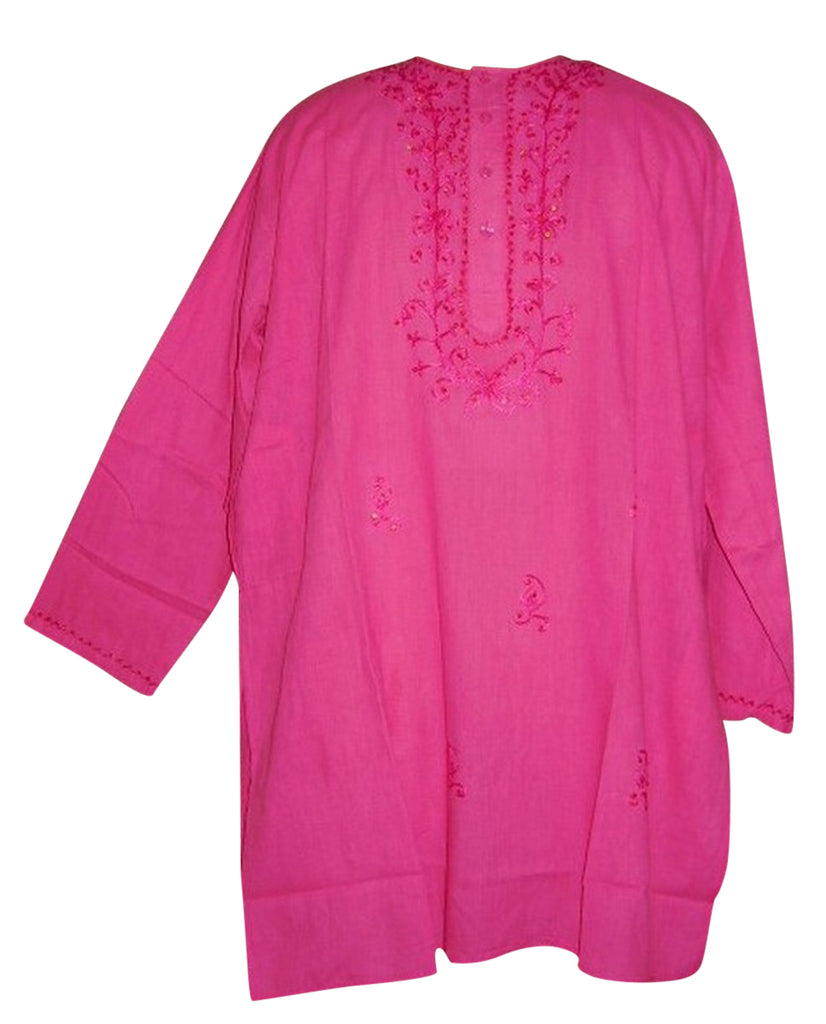 Embroidered Blouse Kurta Tunic Casual Dress M Pink