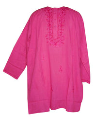 Embroidered Blouse Kurta Tunic Casual Dress L Pink