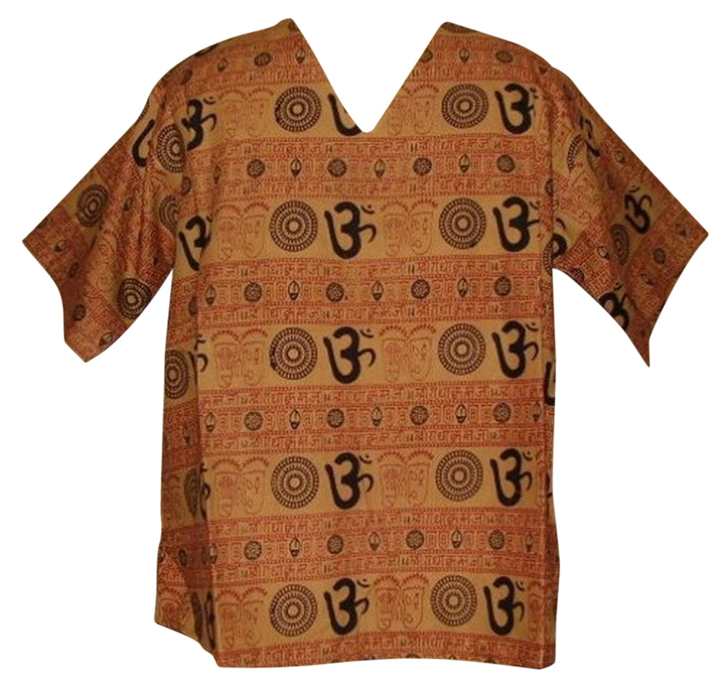 Soft Cotton V Neck Om Shirt Unisex S/M Brown